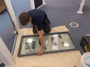 Manufacturing composite door glass